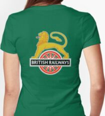 BRITISH RAILWAYS, BR, SIGN, First logo, British Railways, 'Cycling Lion' Womens Fitted T-Shirt