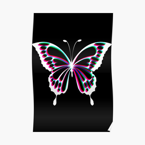 Cute Butterfly Glitch effect  Poster