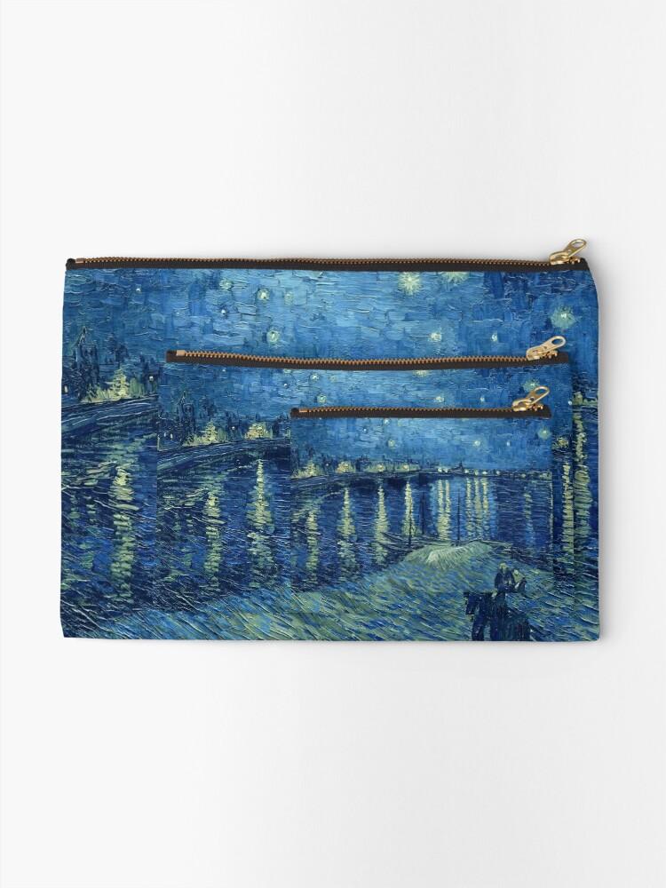 Alternative Ansicht von Vincent van Gogh - Sternennacht über der Rhône Täschchen