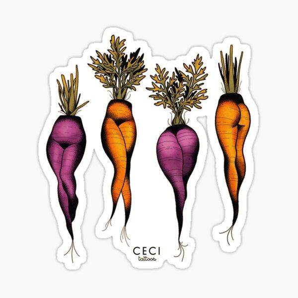 Sexy carrots botanical chart tattoo flash Sticker
