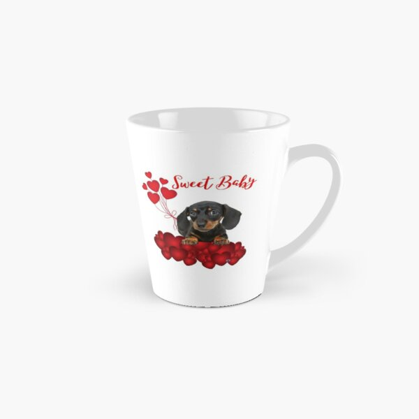 Sweet Baby Dachshund in Red with Red HEARTS Tall Mug