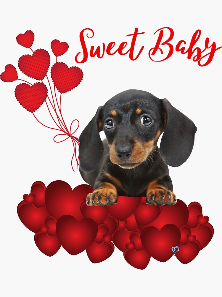 Sweet Baby Dachshund in Red with Red HEARTS by Dogstalk2