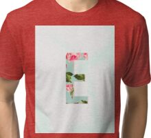Floral Letter E - Letter Collection Tri-blend T-Shirt
