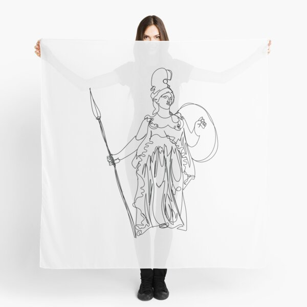 Athena Statue Line Art Scarf