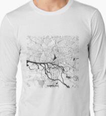 Hamburg City Map Gray T-Shirt