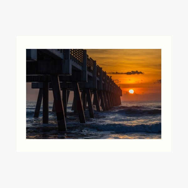 Sunrise Fishing at the Jacksonville Pier Art Print