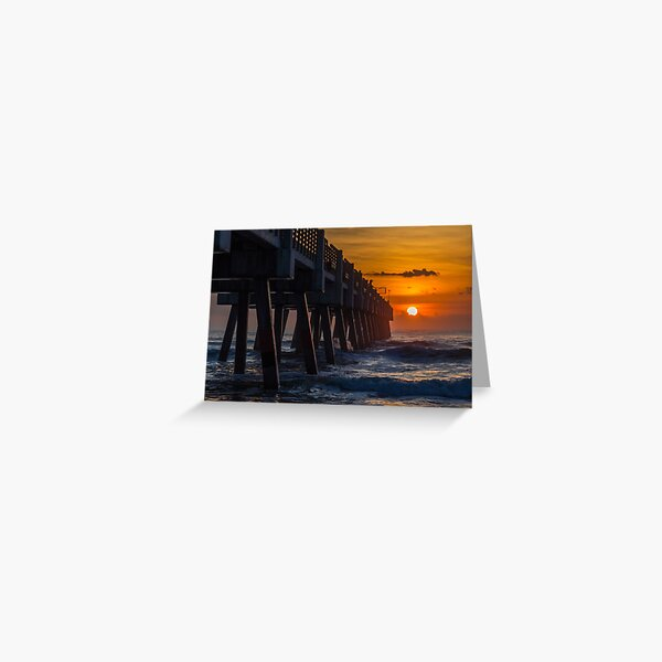 Sunrise Fishing at the Jacksonville Pier Greeting Card