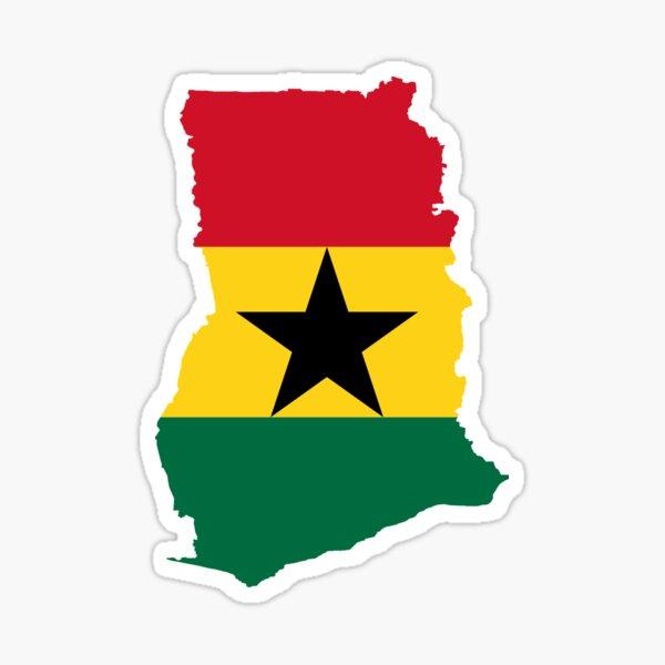 Flag Map of Ghana  Sticker