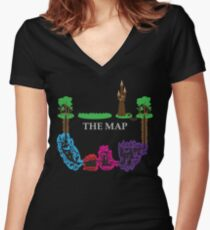 Wizards & Warriors Map Women's Fitted V-Neck T-Shirt