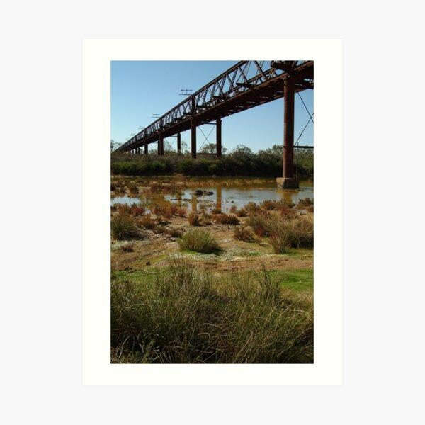 Joe Mortelliti Gallery - Ruins of a railway bridge, Old Ghan Railway, South Australia. Art Print