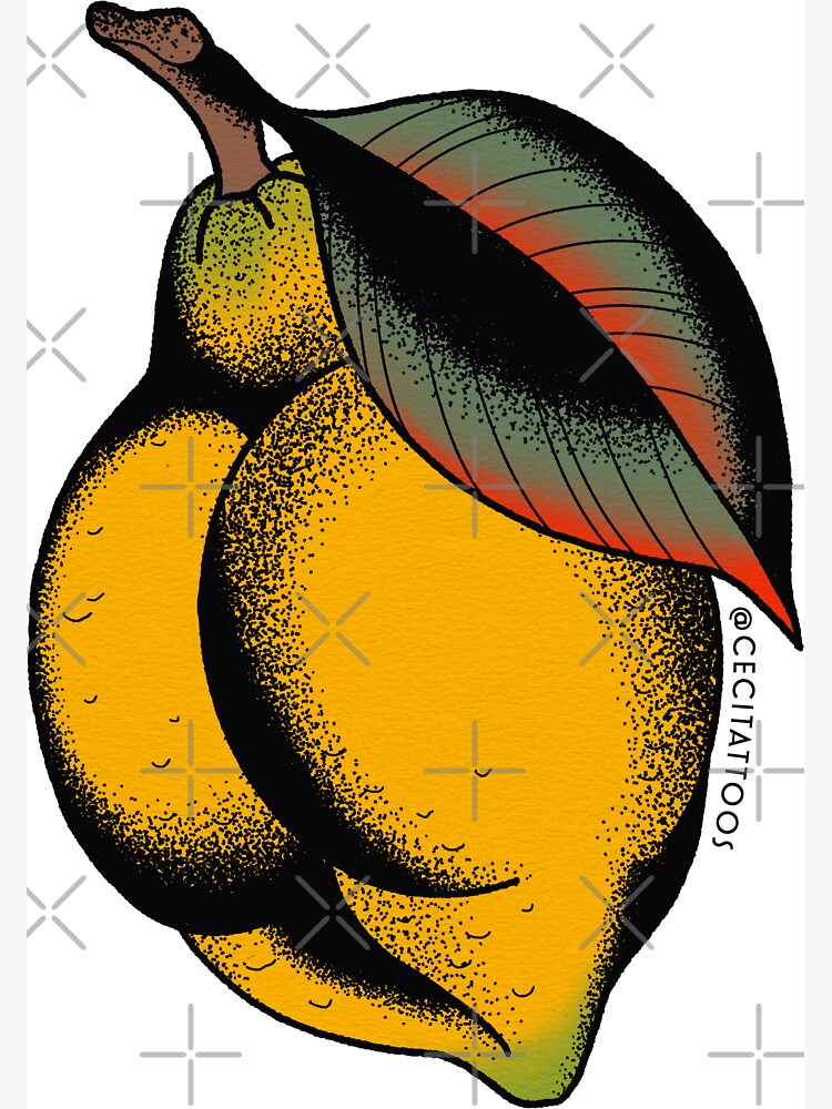 lemon booty tattoo flash by ceciliagranata