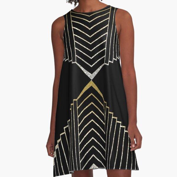 Golden glimmer art deco design A-Line Dress