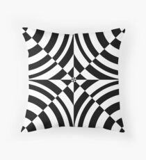 Chess, black and white geometric abstraction op-art Throw Pillow