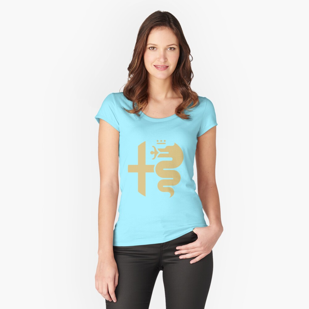 Gold Alfa crest Women's Fitted Scoop T-Shirt Front