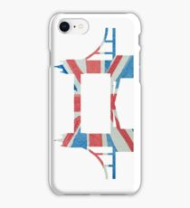 Tower Bridge London River Thames in UK Flag Water Colors Red, White and Blue iPhone Case/Skin