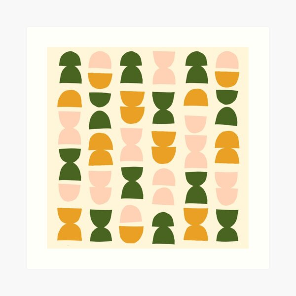 Retro 70s Inspired Modern Abstract Pattern Art Print