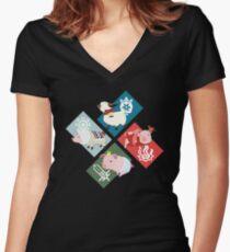 Monster Hunter Generations - 4 Villages Women's Fitted V-Neck T-Shirt