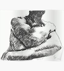 male torso in abstract pencil Poster