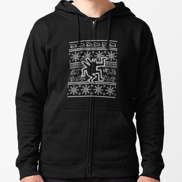 Keith Haring  X-Mas Sweater  Merry Christmas  Ugly Christmas Zipped Hoodie
