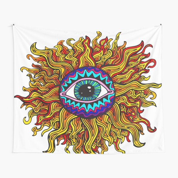 Psychedelic Sunflower - Just the flower Tapestry