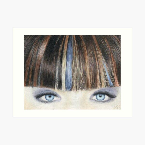 Blue Eyes Coloured Pencil Drawing  Art Print