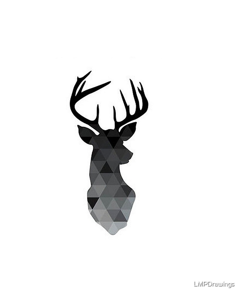 Quot Black Geometric Deer Head Quot By Lmpdrawings Redbubble