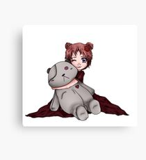 Goth Doll Holding Bear  Canvas Print