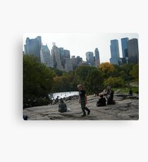 View of Wollman Rink, Central Park, from Rock Formation Canvas Print