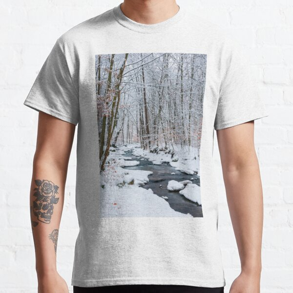 forest creek in winter forest Classic T-Shirt