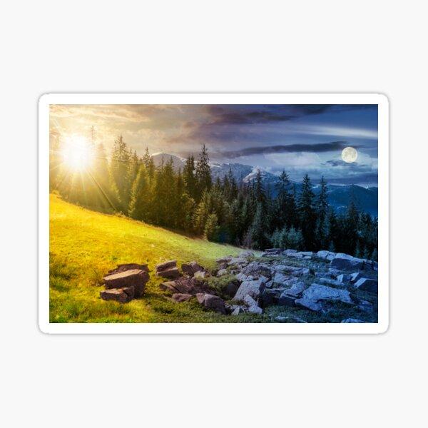 alpine summer landscape time change composite Sticker