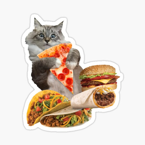 Cheeseburger Taco Pizza Cat Glossy Sticker