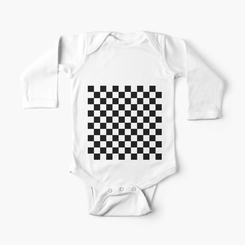 Checkered Black and White Baby One-Piece