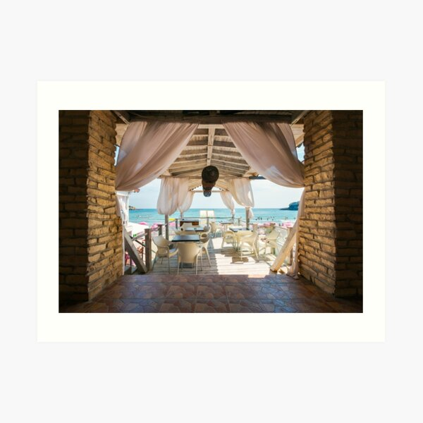 empty terrace with beautiful view in to the sea Art Print