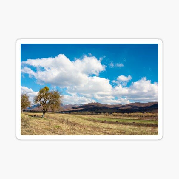 rural fields in mountains Sticker