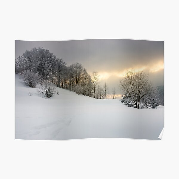 gorgeous winter sunrise in mountains Poster