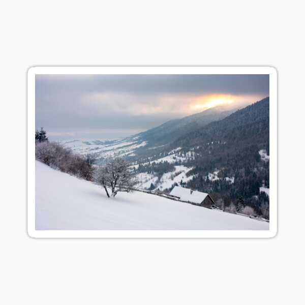 wonderful snowy countryside in mountains Sticker