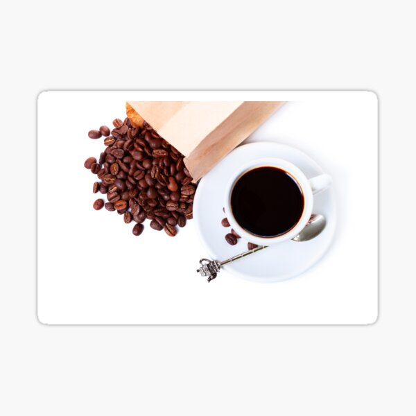cup of coffee and paper bag with coffee beans Sticker