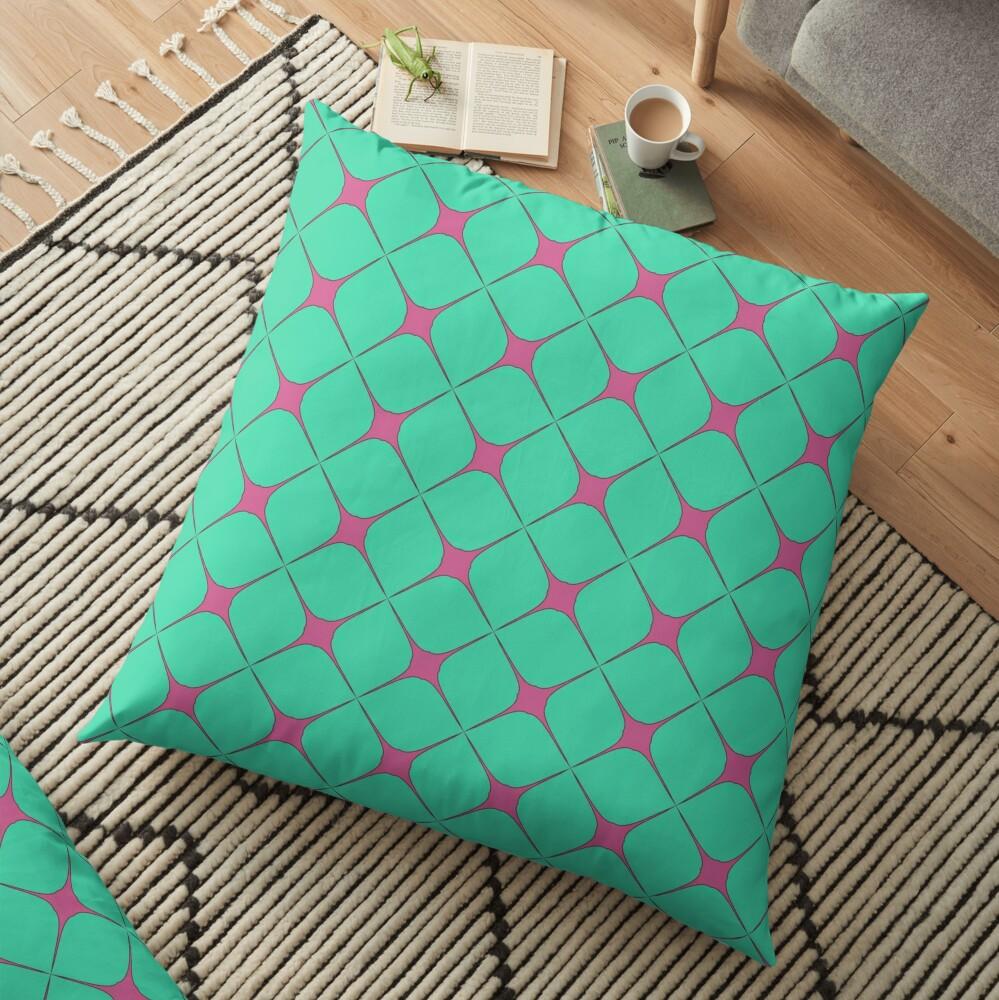 Modern Geometric Green Pink Pattern Design 1704 Floor Pillow