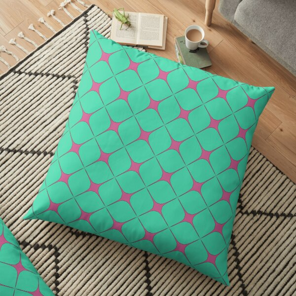 Modern Geometric Green Pink Pattern Design 1704 Floor Pillow