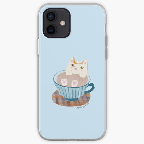 Cat bathing in a Coffee Cup iPhone Soft Case