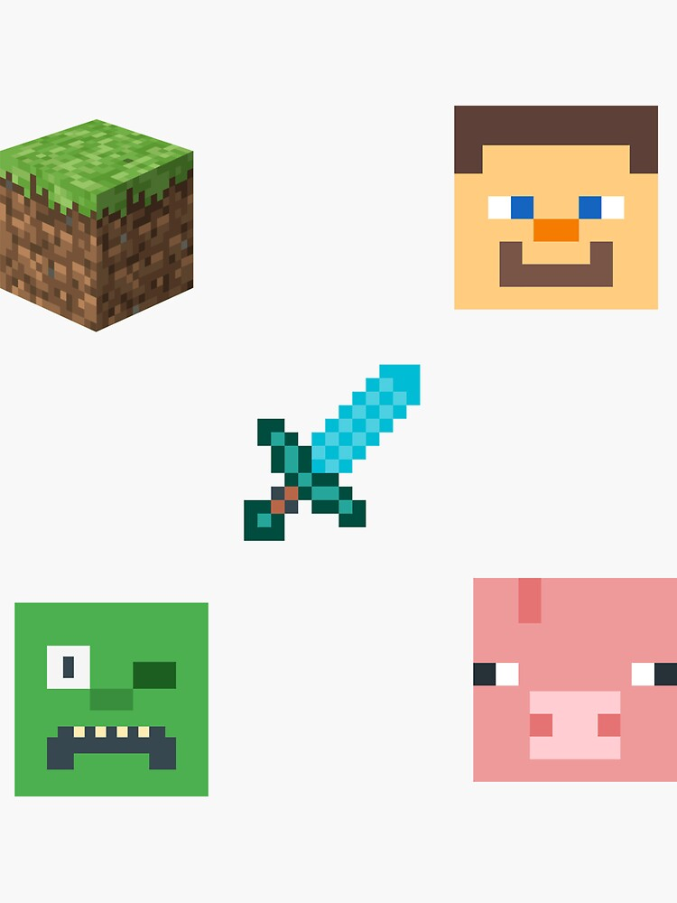 Minecraft blocks head and weapon by ds-4