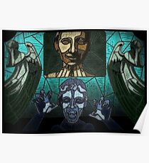 Weeping angels stained glass Poster