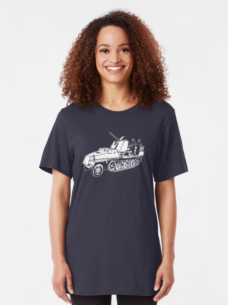 Alternate view of German Halftrack with Flak Gun Slim Fit T-Shirt