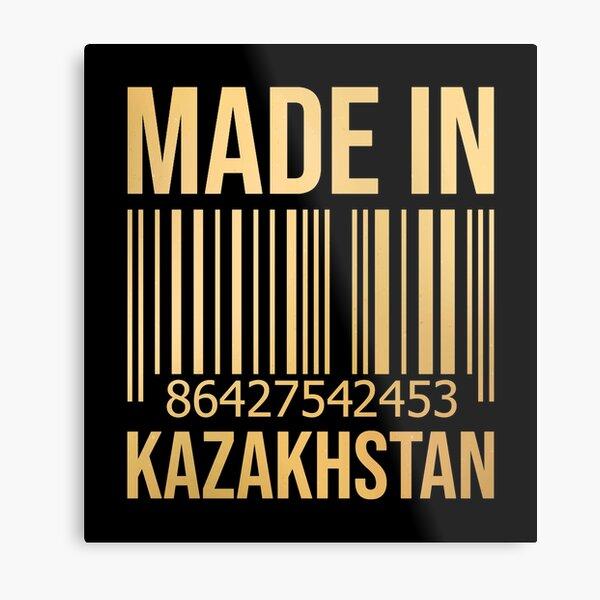 Made in Kazakhstan in Gold Metal Print