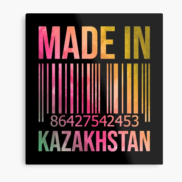 Made in Kazakhstan in Watercolor Metal Print