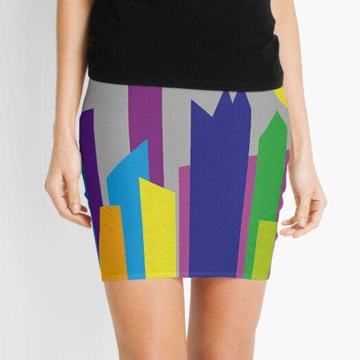 Geometric Flat Abstract Halftone City Trendy Summer Colors Mini Skirt