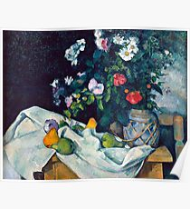 1890 - Paul Cezanne - Still Life with Flowers and Fruit Poster