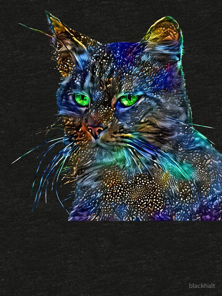 Artificial neural style Starry night wild cat by blackhalt