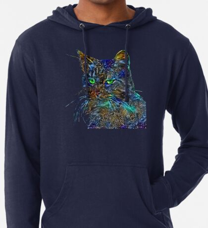 Artificial neural style Starry night wild cat Lightweight Hoodie