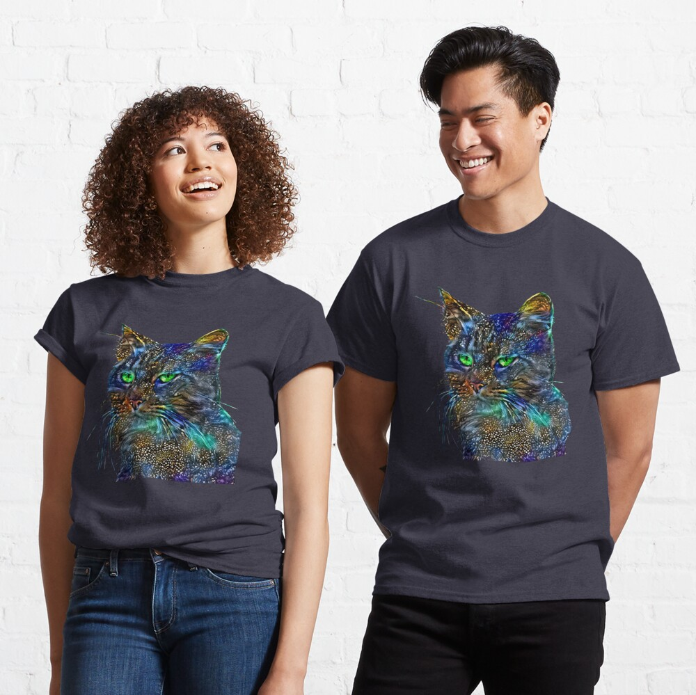 Artificial neural style Starry night wild cat Classic T-Shirt